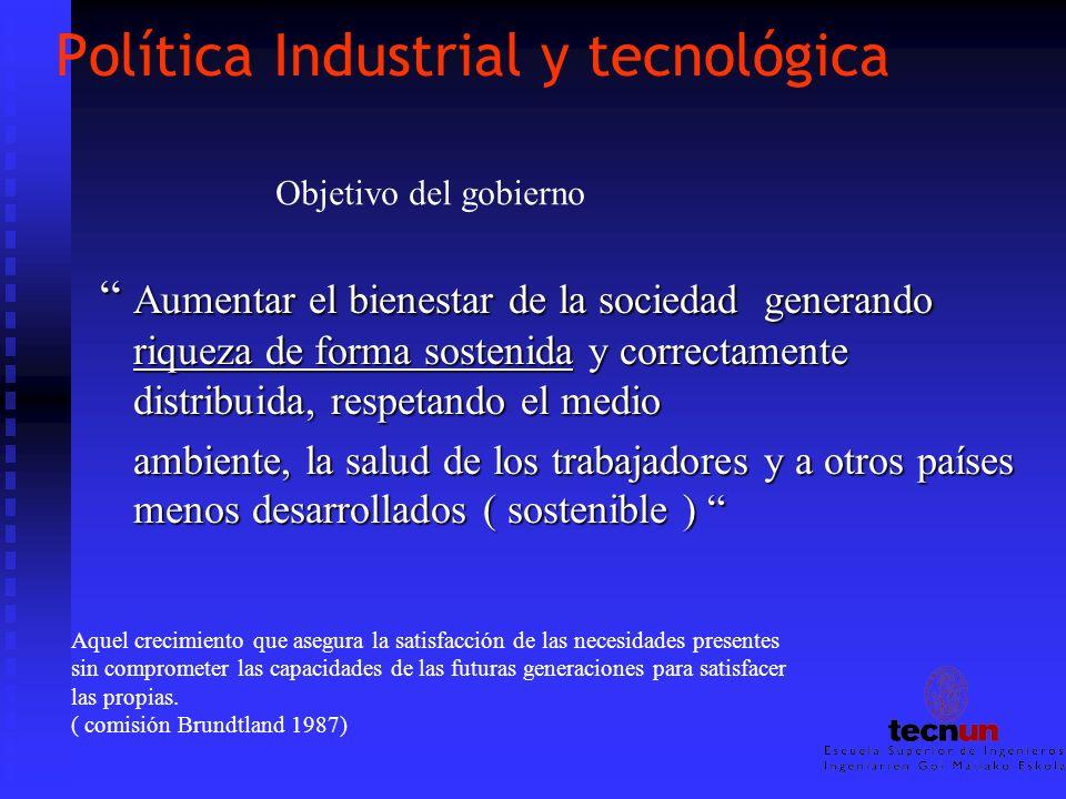 Política Industrial y tecnológica Aumentar el bienestar de la sociedad generando riqueza de forma sostenida y correctamente distribuida, respetando el