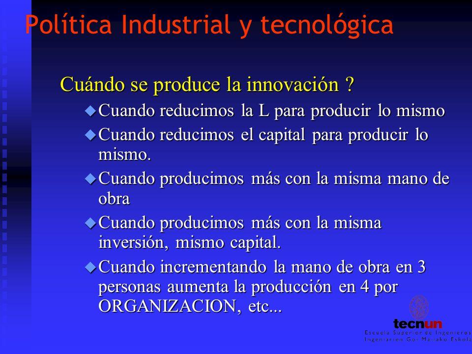 Política Industrial y tecnológica Cuándo se produce la innovación ? u Cuando reducimos la L para producir lo mismo u Cuando reducimos el capital para