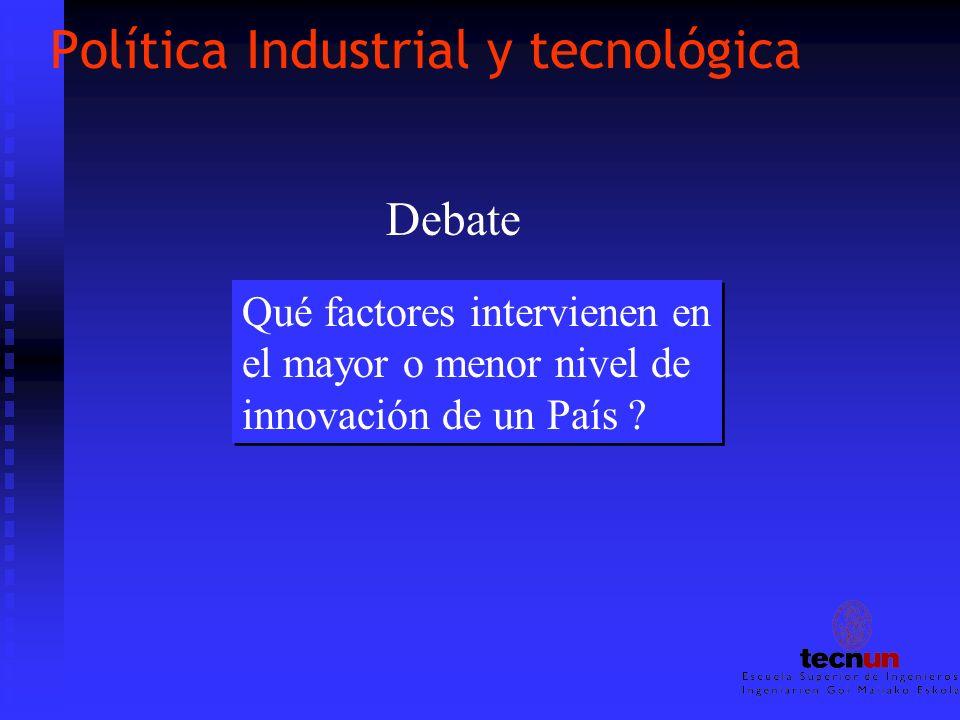 Política Industrial y tecnológica Qué factores intervienen en el mayor o menor nivel de innovación de un País ? Qué factores intervienen en el mayor o