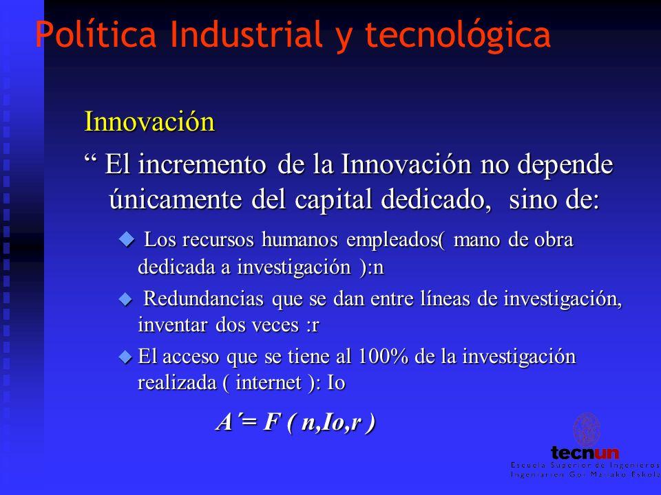 Política Industrial y tecnológica Innovación El incremento de la Innovación no depende únicamente del capital dedicado, sino de: El incremento de la I