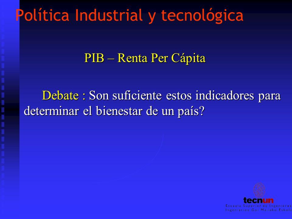 Política Industrial y tecnológica PIB – Renta Per Cápita PIB – Renta Per Cápita Debate : Son suficiente estos indicadores para determinar el bienestar