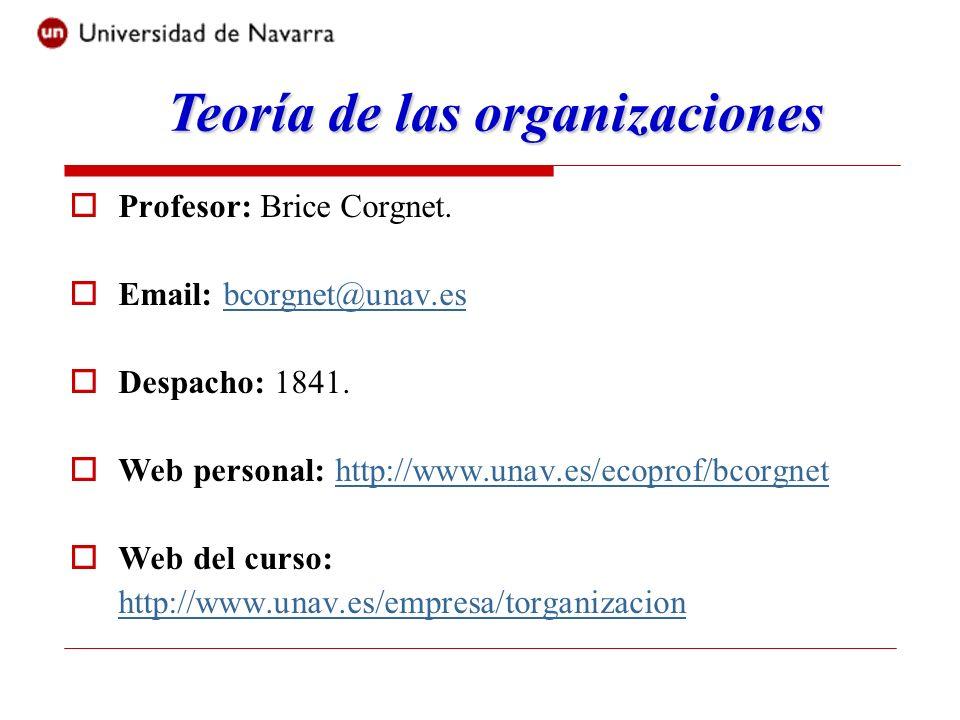 Bibliografía: Gran parte del material necesario para este curso está disponible en el siguiente ensayo: 1-Brice Corgnet and Pedro Mendi, Teoría económica de las organizaciones, Universidad de Navarra, 2008.