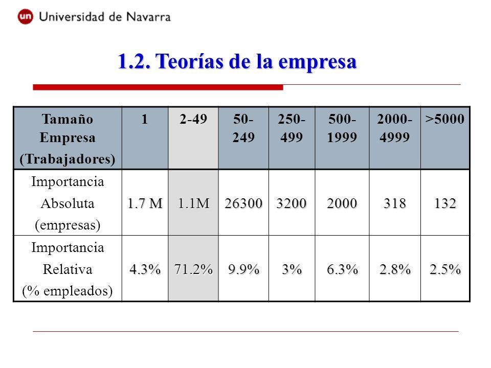 Tamaño Empresa (Trabajadores) 12-4950- 249 250- 499 500- 1999 2000- 4999 >5000 Importancia Absoluta (empresas) 1.7 M 1.1M2630032002000318132 Importanc