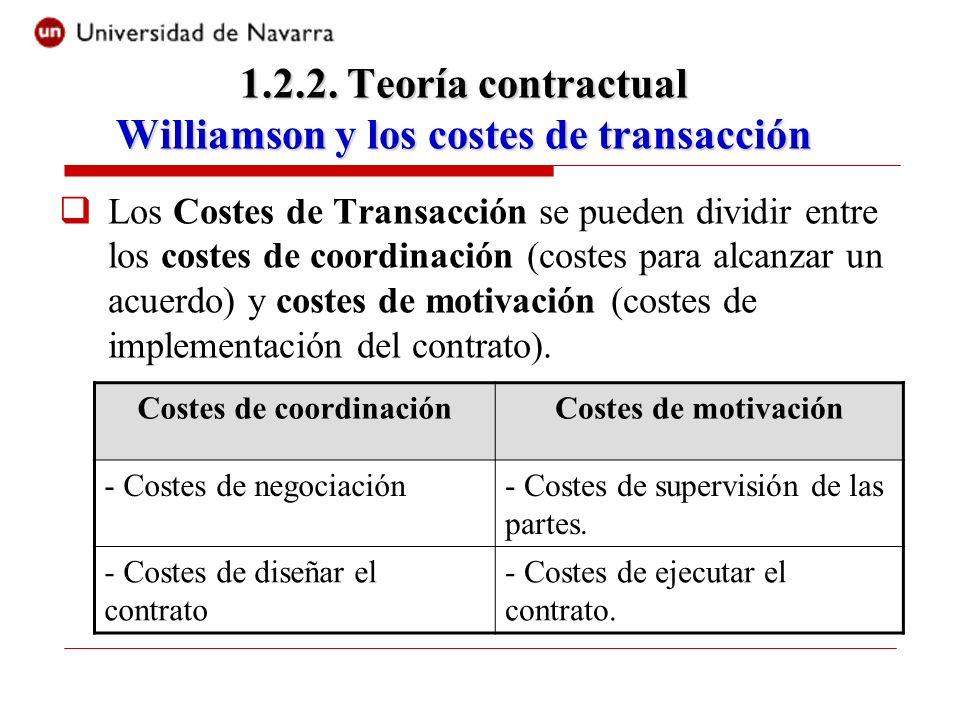 Los Costes de Transacción se pueden dividir entre los costes de coordinación (costes para alcanzar un acuerdo) y costes de motivación (costes de imple