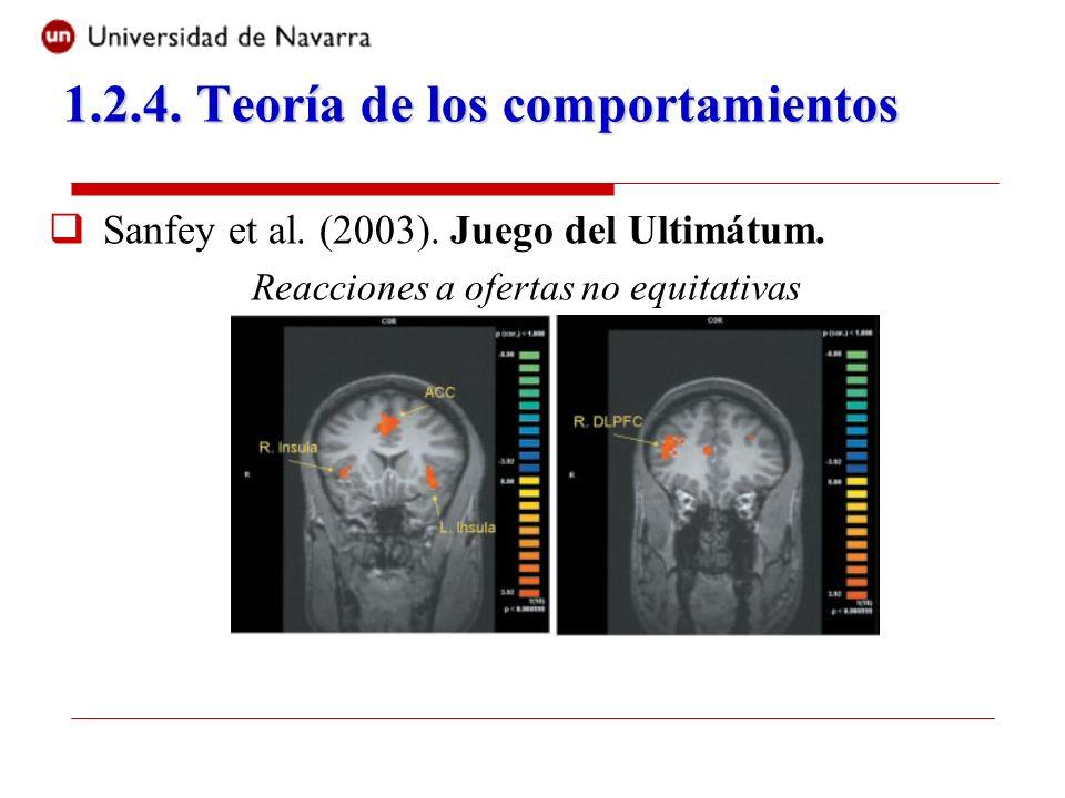 Sanfey et al. (2003). Juego del Ultimátum. Reacciones a ofertas no equitativas 1.2.4. Teoría de los comportamientos