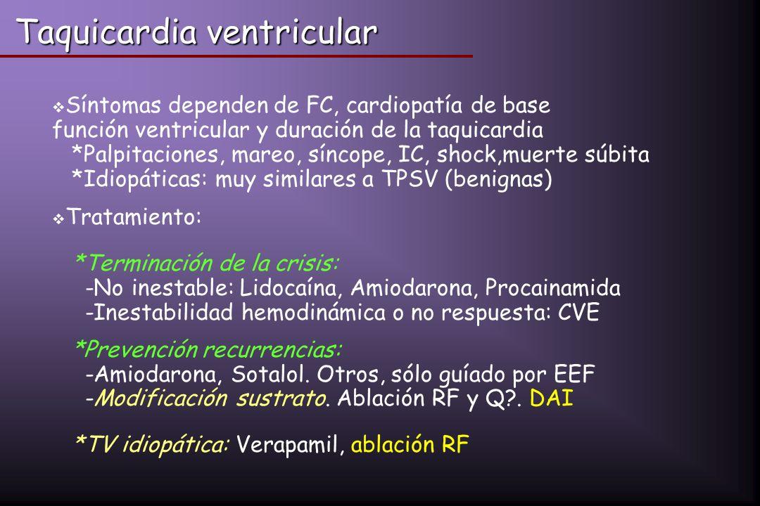 Síntomas dependen de FC, cardiopatía de base función ventricular y duración de la taquicardia *Palpitaciones, mareo, síncope, IC, shock,muerte súbita