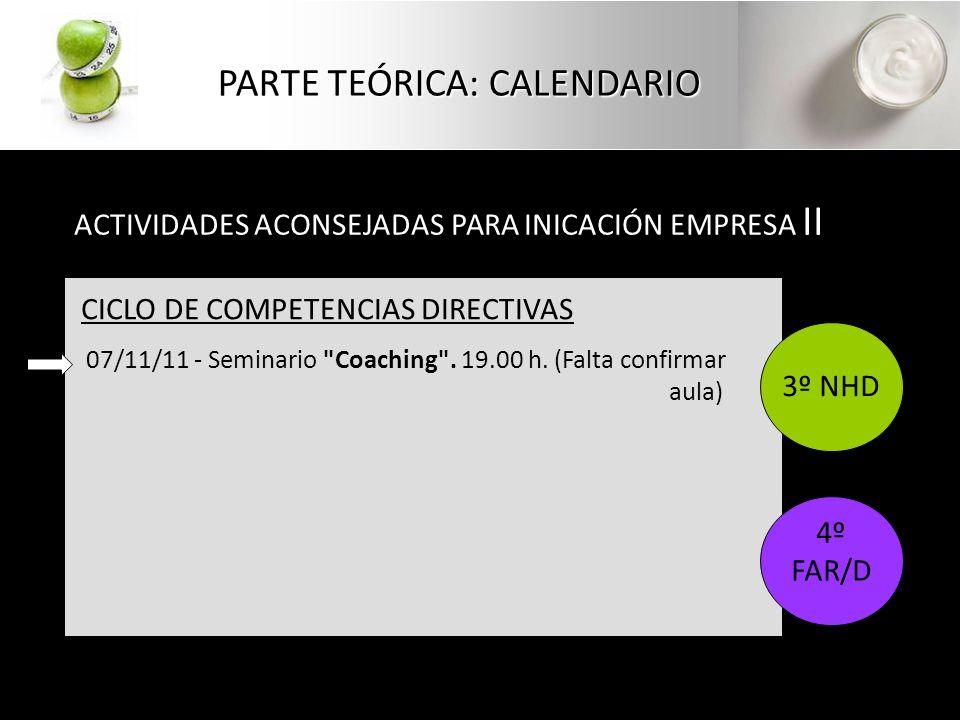 PARTE TEÓRICA: CALENDARIO ACTIVIDADES ACONSEJADAS PARA INICACIÓN EMPRESA II CICLO DE COMPETENCIAS DIRECTIVAS 07/11/11 - Seminario Coaching .