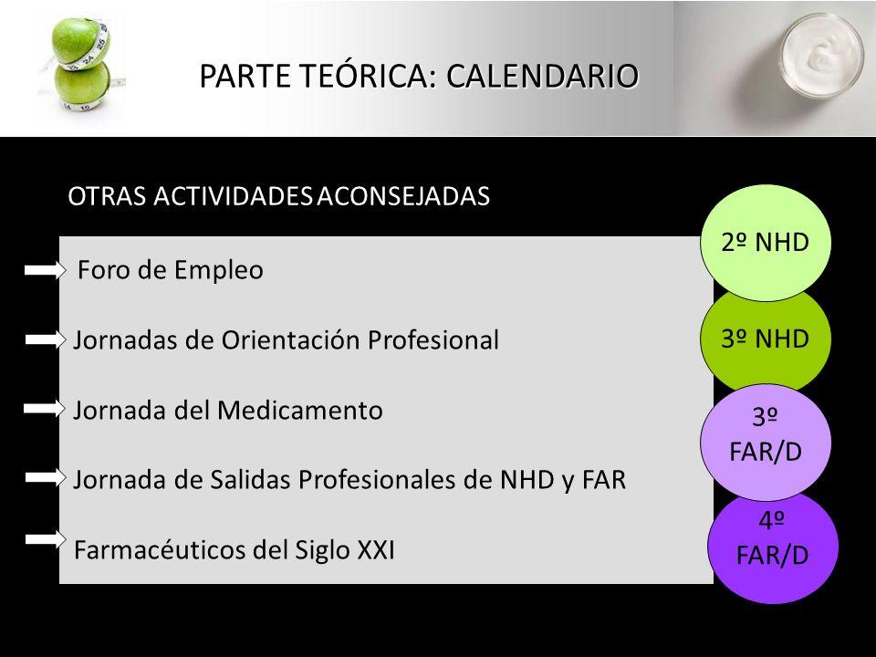 PARTE TEÓRICA: CALENDARIO OTRAS ACTIVIDADES ACONSEJADAS Foro de Empleo Jornadas de Orientación Profesional Jornada del Medicamento Jornada de Salidas Profesionales de NHD y FAR Farmacéuticos del Siglo XXI 3º NHD 4º FAR/D 2º NHD 3º FAR/D
