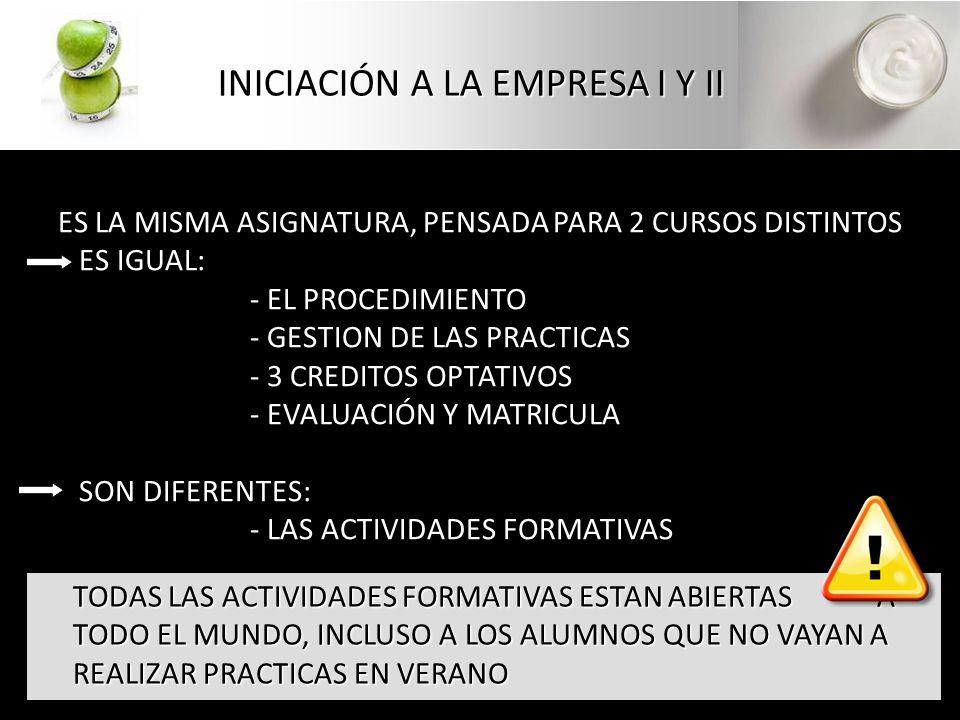 ES LA MISMA ASIGNATURA, PENSADA PARA 2 CURSOS DISTINTOS ES IGUAL: - EL PROCEDIMIENTO - GESTION DE LAS PRACTICAS - 3 CREDITOS OPTATIVOS - EVALUACIÓN Y MATRICULA SON DIFERENTES: - LAS ACTIVIDADES FORMATIVAS INICIACIÓN A LA EMPRESA I Y II TODAS LAS ACTIVIDADES FORMATIVAS ESTAN ABIERTAS A TODO EL MUNDO, INCLUSO A LOS ALUMNOS QUE NO VAYAN A REALIZAR PRACTICAS EN VERANO