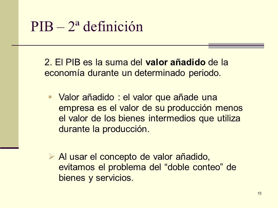 19 PIB – 2ª definición 2. El PIB es la suma del valor añadido de la economía durante un determinado periodo. Valor añadido : el valor que añade una em