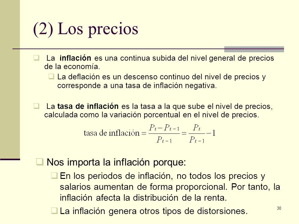 30 (2) Los precios La inflación es una continua subida del nivel general de precios de la economía. La deflación es un descenso continuo del nivel de