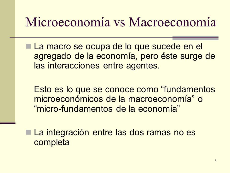 6 Microeconomía vs Macroeconomía La macro se ocupa de lo que sucede en el agregado de la economía, pero éste surge de las interacciones entre agentes.