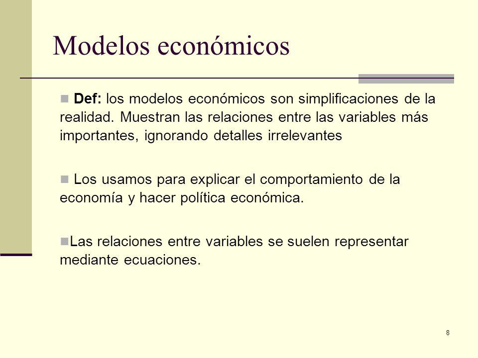 8 Modelos económicos Def: los modelos económicos son simplificaciones de la realidad. Muestran las relaciones entre las variables más importantes, ign