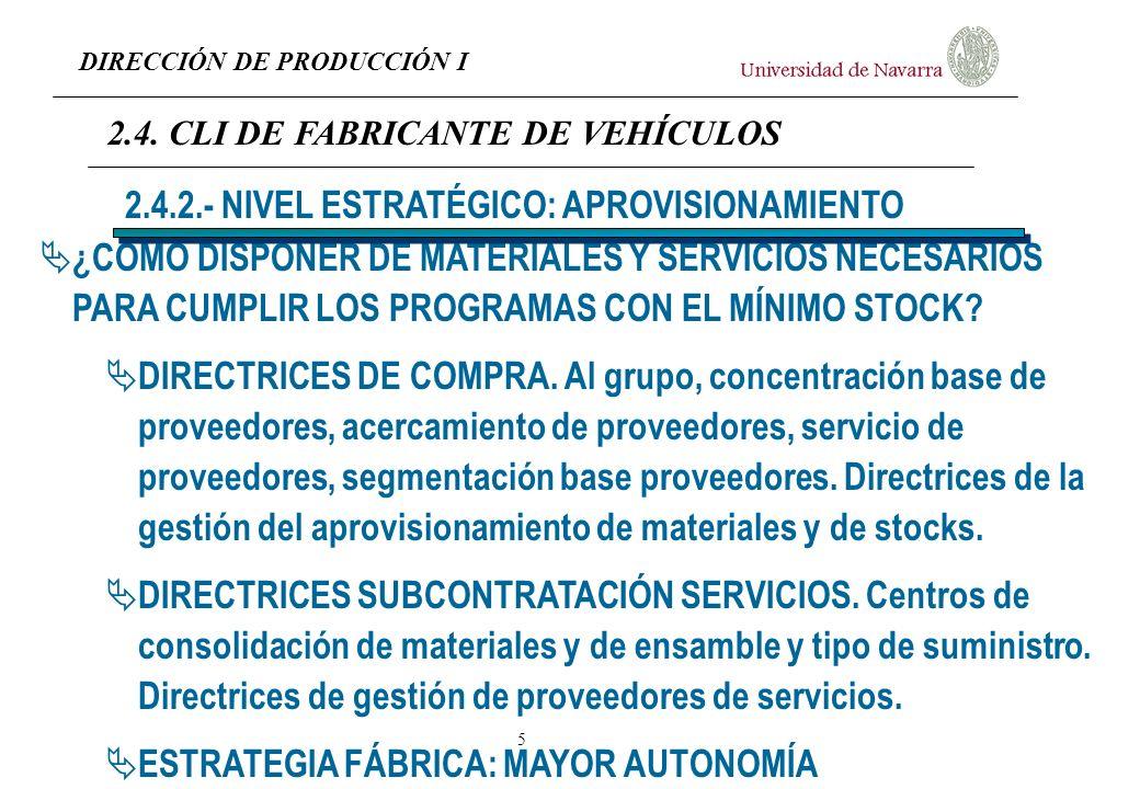 DIRECCIÓN DE PRODUCCIÓN I 6 APROVISIONAMIENTO Gestión de stocks de materiales y componentes Suministro de materiales directamente a línea Gestión de proveedores 2.4.3.- NIVEL TÁCTICO 2.4.