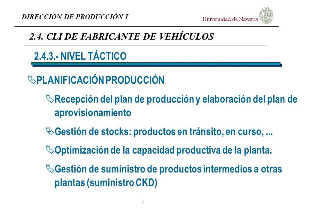 DIRECCIÓN DE PRODUCCIÓN I 7 PLANIFICACIÓN PRODUCCIÓN Recepción del plan de producción y elaboración del plan de aprovisionamiento Gestión de stocks: p
