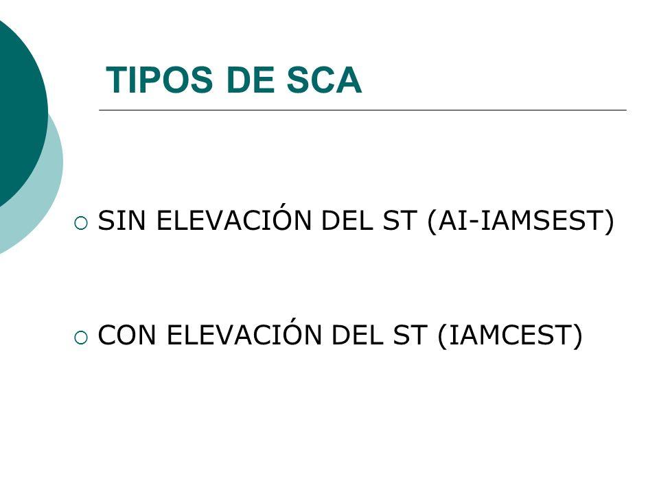 TIPOS DE SCA SIN ELEVACIÓN DEL ST (AI-IAMSEST) CON ELEVACIÓN DEL ST (IAMCEST)