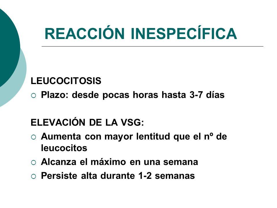 REACCIÓN INESPECÍFICA LEUCOCITOSIS Plazo: desde pocas horas hasta 3-7 días ELEVACIÓN DE LA VSG: Aumenta con mayor lentitud que el nº de leucocitos Alc