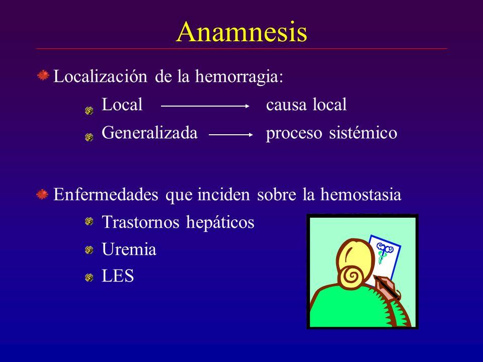 Anamnesis Localización de la hemorragia: Local causa local Generalizada proceso sistémico Enfermedades que inciden sobre la hemostasia Trastornos hepá