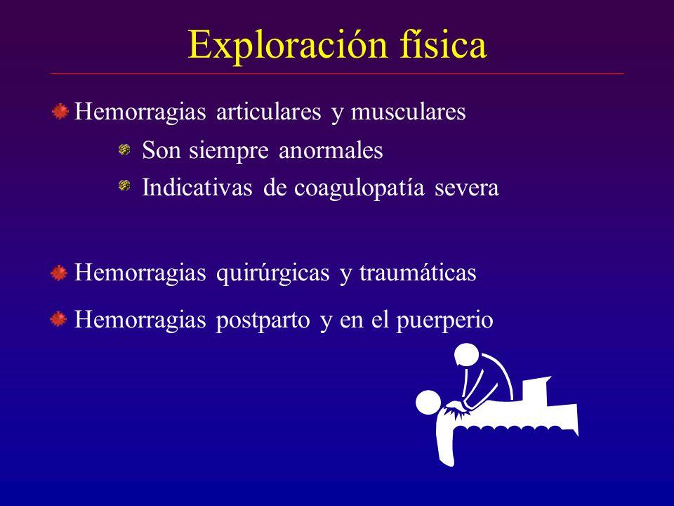Hemorragias articulares y musculares Son siempre anormales Indicativas de coagulopatía severa Hemorragias quirúrgicas y traumáticas Hemorragias postpa
