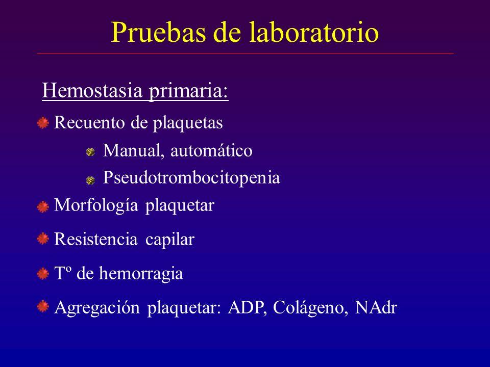 Pruebas de laboratorio Recuento de plaquetas Manual, automático Pseudotrombocitopenia Morfología plaquetar Resistencia capilar Tº de hemorragia Agrega