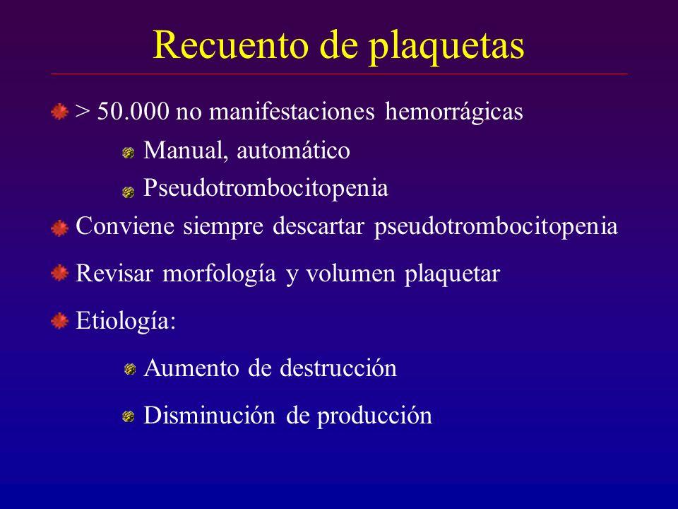 Recuento de plaquetas > 50.000 no manifestaciones hemorrágicas Manual, automático Pseudotrombocitopenia Conviene siempre descartar pseudotrombocitopen