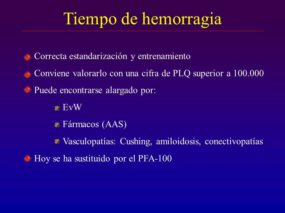 Tiempo de hemorragia Correcta estandarización y entrenamiento Conviene valorarlo con una cifra de PLQ superior a 100.000 Puede encontrarse alargado po
