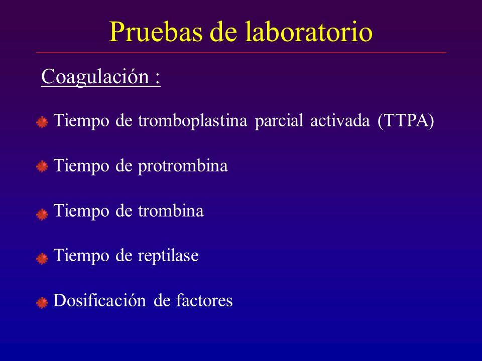 Tiempo de tromboplastina parcial activada (TTPA) Tiempo de protrombina Tiempo de trombina Tiempo de reptilase Dosificación de factores Pruebas de labo