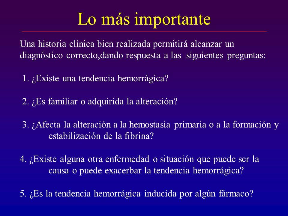 Lo más importante Una historia clínica bien realizada permitirá alcanzar un diagnóstico correcto,dando respuesta a las siguientes preguntas: 1. ¿Exist