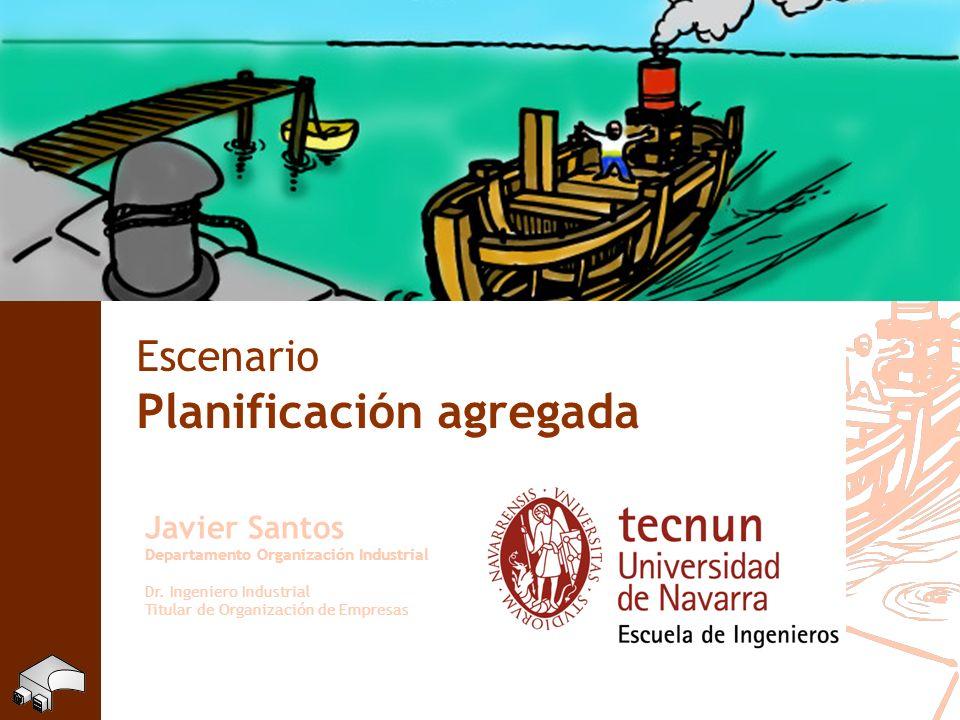 Escenario Planificación agregada Javier Santos Departamento Organización Industrial Dr. Ingeniero Industrial Titular de Organización de Empresas