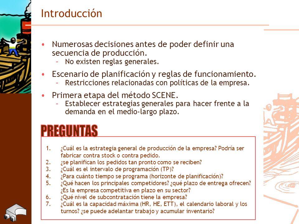 Introducción Numerosas decisiones antes de poder definir una secuencia de producción. –No existen reglas generales. Escenario de planificación y regla