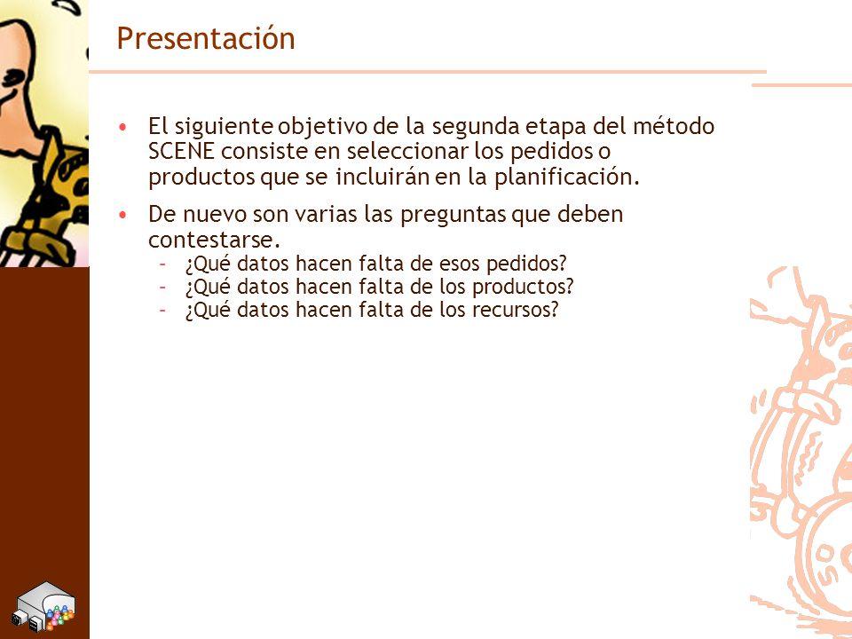 Presentación El siguiente objetivo de la segunda etapa del método SCENE consiste en seleccionar los pedidos o productos que se incluirán en la planifi
