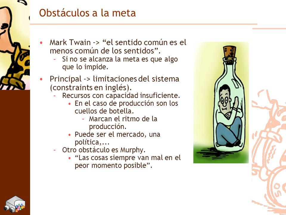 Obstáculos a la meta Mark Twain -> el sentido común es el menos común de los sentidos. –Si no se alcanza la meta es que algo que lo impide. Principal