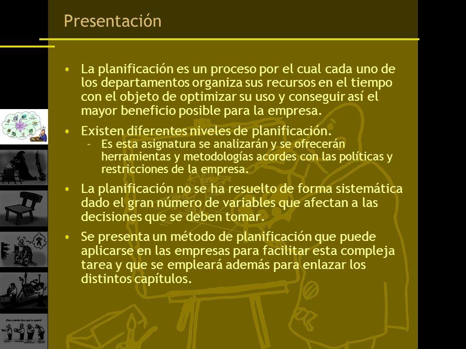 Presentación La planificación es un proceso por el cual cada uno de los departamentos organiza sus recursos en el tiempo con el objeto de optimizar su