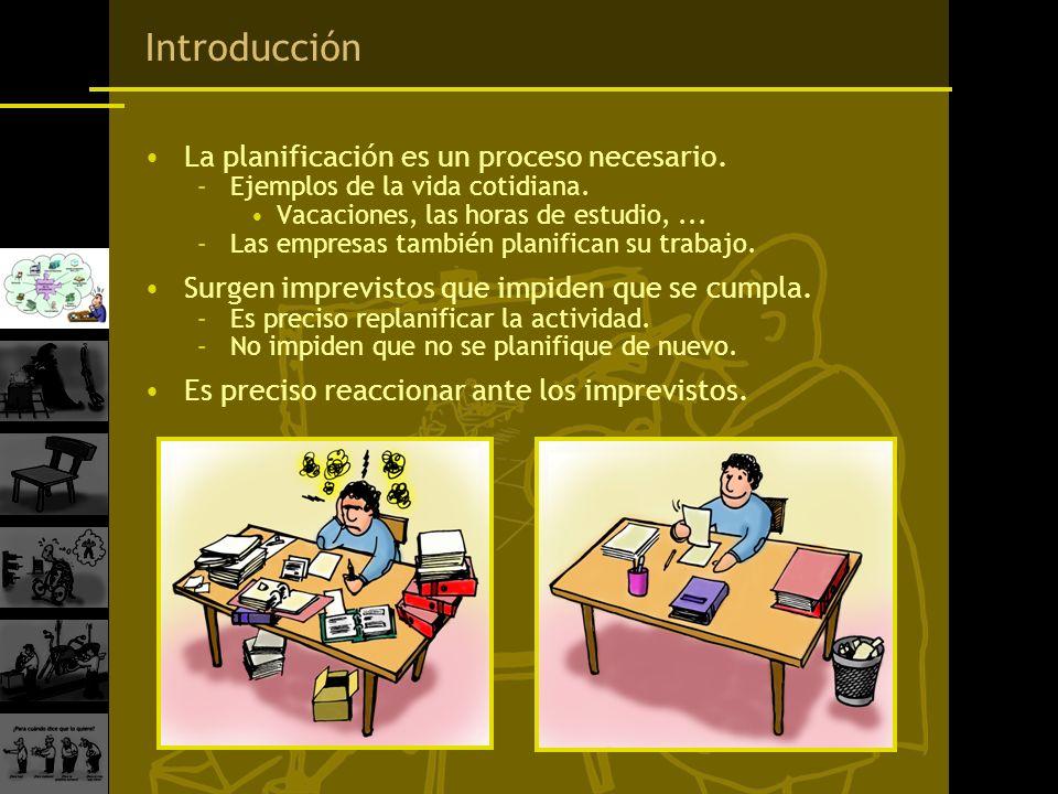 Introducción La planificación es un proceso necesario. –Ejemplos de la vida cotidiana. Vacaciones, las horas de estudio,... –Las empresas también plan