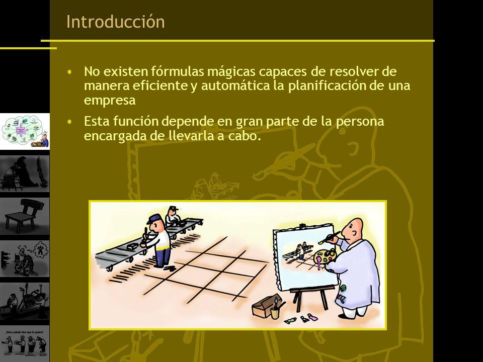 Introducción No existen fórmulas mágicas capaces de resolver de manera eficiente y automática la planificación de una empresa Esta función depende en