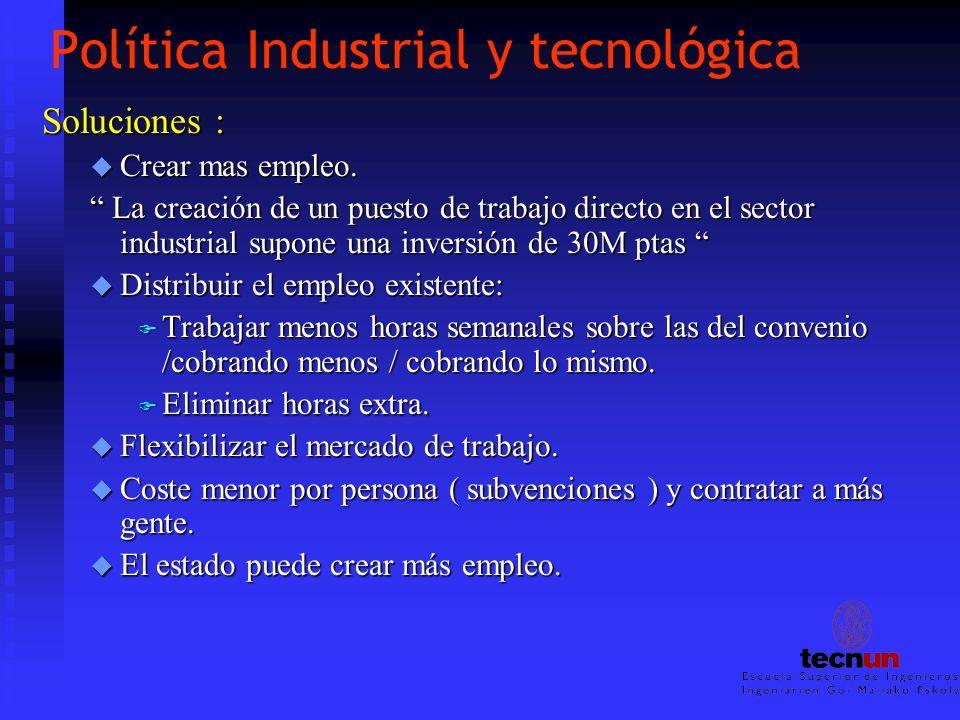 Política Industrial y tecnológica Soluciones : u Crear mas empleo. La creación de un puesto de trabajo directo en el sector industrial supone una inve