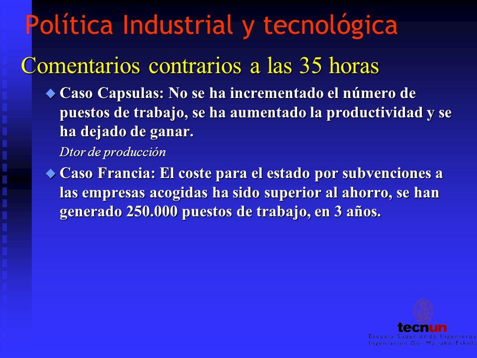 Política Industrial y tecnológica Comentarios contrarios a las 35 horas u Caso Capsulas: No se ha incrementado el número de puestos de trabajo, se ha