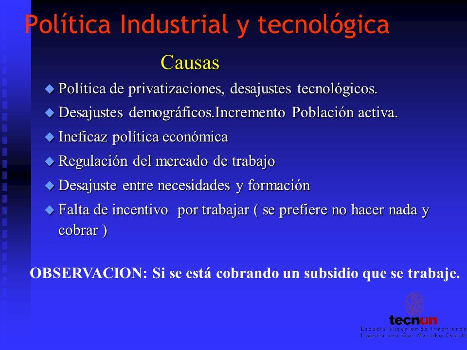 Política Industrial y tecnológica Causas u Política de privatizaciones, desajustes tecnológicos. u Desajustes demográficos.Incremento Población activa