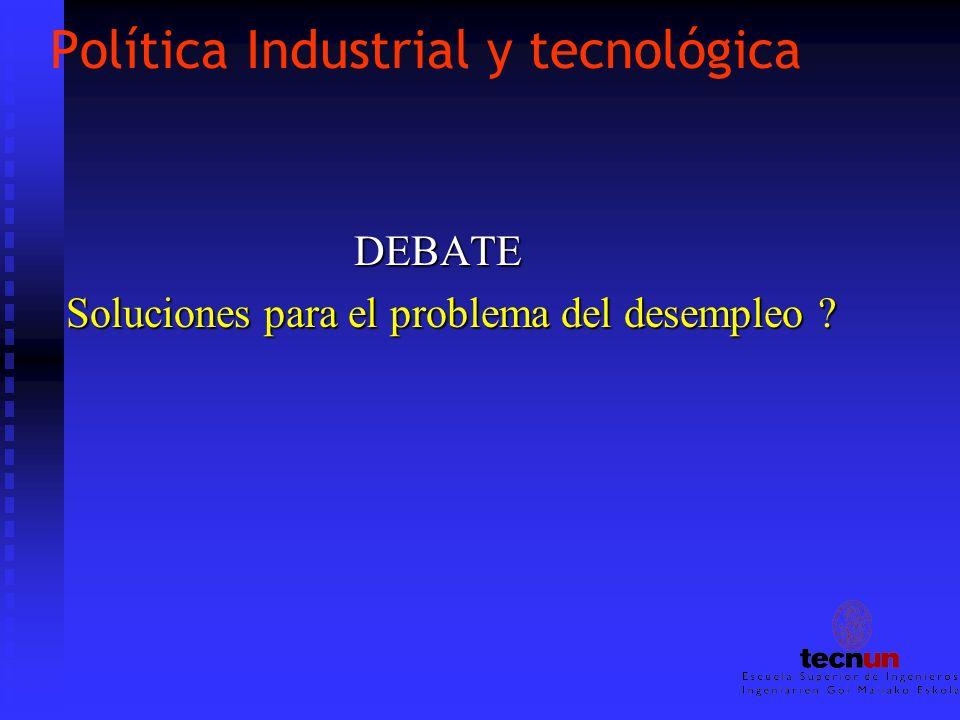 Política Industrial y tecnológica DEBATE DEBATE Soluciones para el problema del desempleo ?