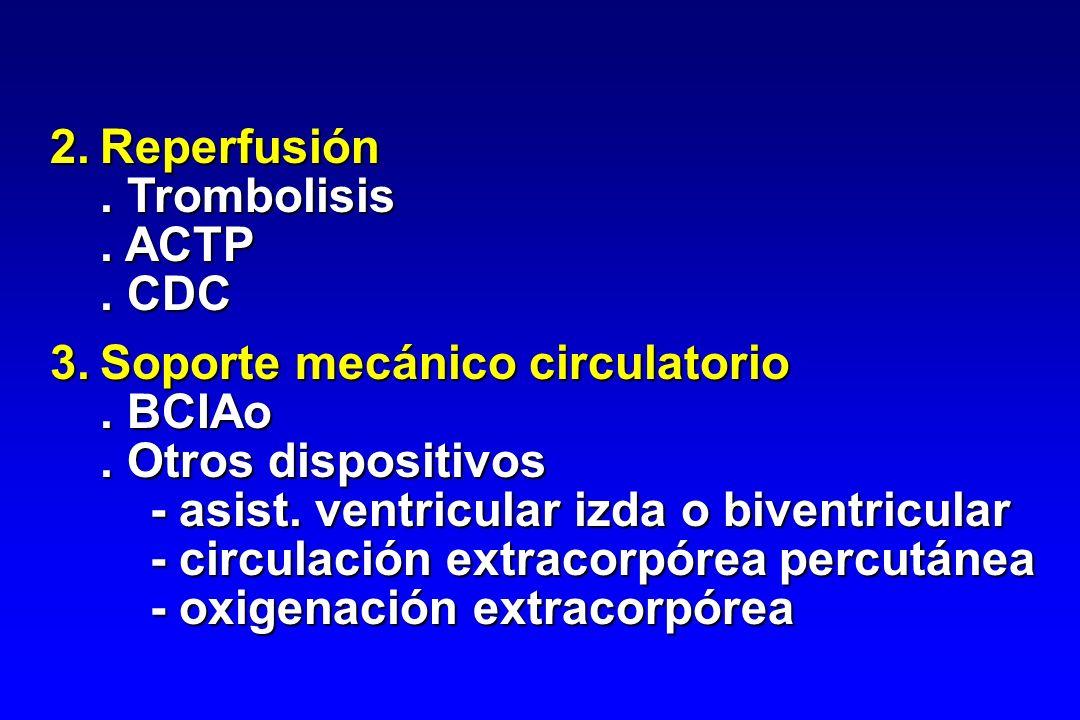 2.Reperfusión. Trombolisis. ACTP. CDC 3.Soporte mecánico circulatorio. BCIAo. Otros dispositivos - asist. ventricular izda o biventricular - circulaci