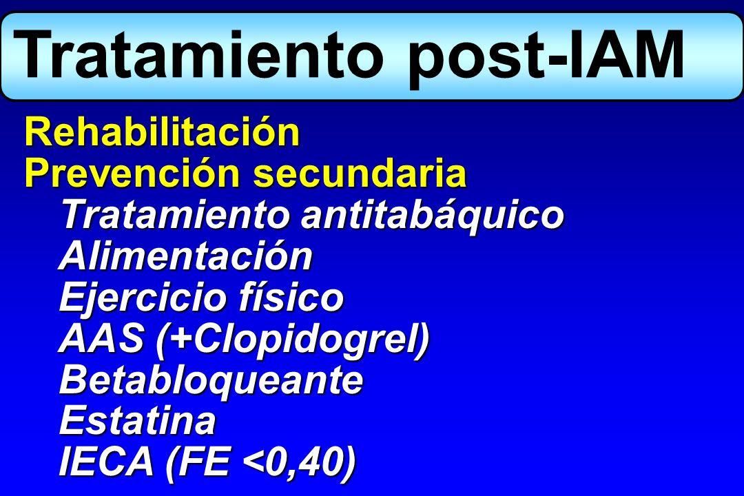 Rehabilitación Prevención secundaria Tratamiento antitabáquico Alimentación Ejercicio físico AAS (+Clopidogrel) BetabloqueanteEstatina IECA (FE <0,40)