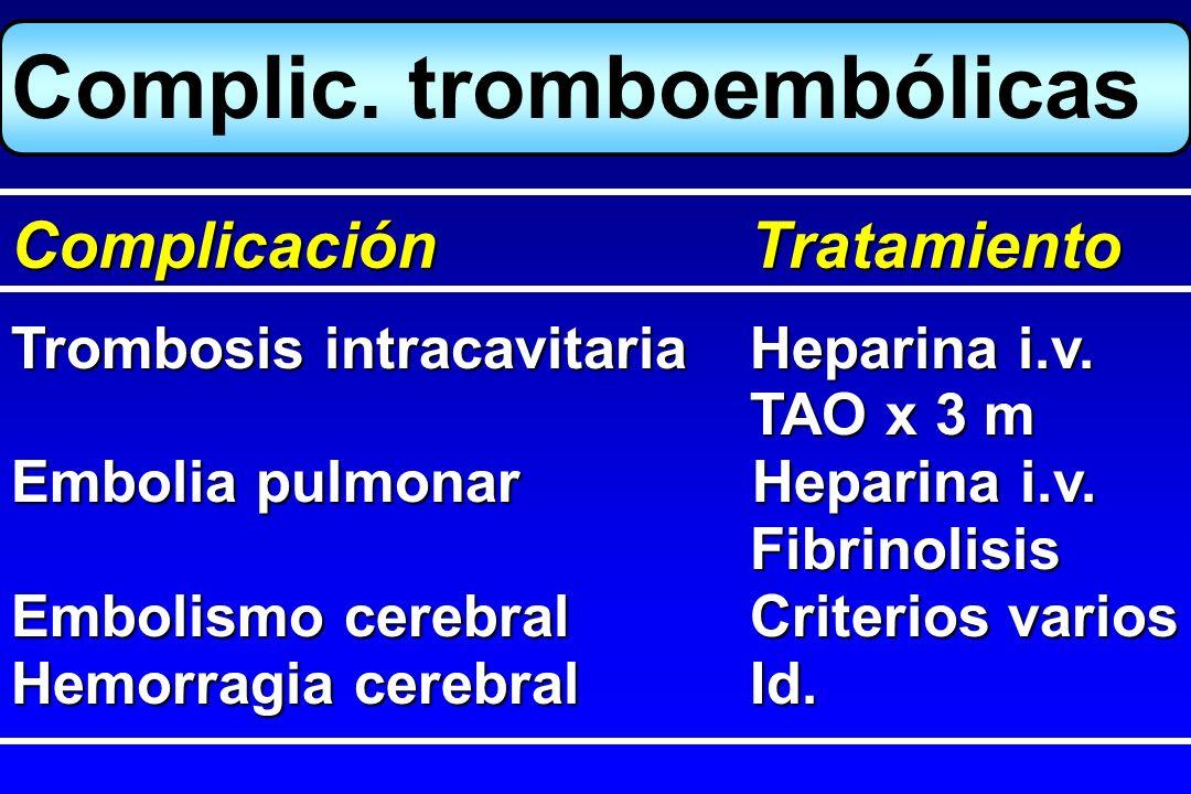 Trombosis intracavitariaHeparina i.v. TAO x 3 m Embolia pulmonarHeparina i.v. Fibrinolisis Embolismo cerebralCriterios varios Hemorragia cerebralId. C