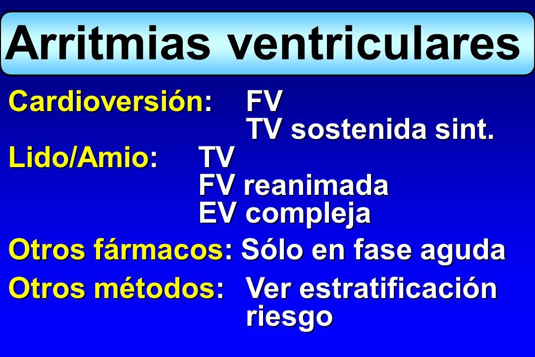 Arritmias ventriculares Cardioversión:FV TV sostenida sint. Lido/Amio:TV FV reanimada EV compleja Otros fármacos: Sólo en fase aguda Otros métodos:Ver