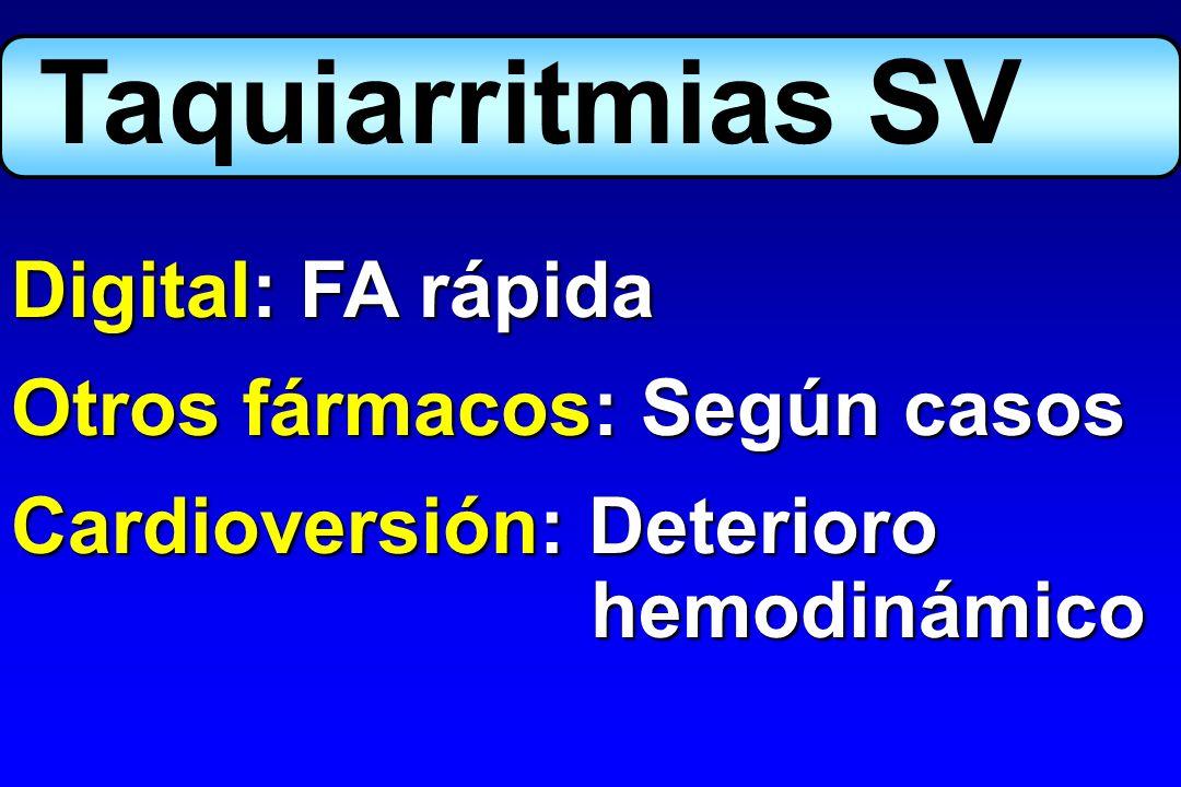 Atropina: Hipertonía vagal Marcapasos profiláctico: - Asistolia - IAM anterior:BAV 3º y 2º grado Bloqueo trifascicular Bloqueo bifasc.