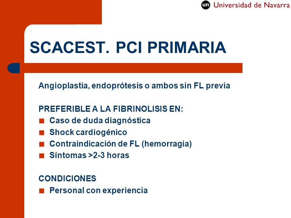 SCACEST. PCI PRIMARIA Angioplastia, endoprótesis o ambos sin FL previa PREFERIBLE A LA FIBRINOLISIS EN: Caso de duda diagnóstica Shock cardiogénico Co