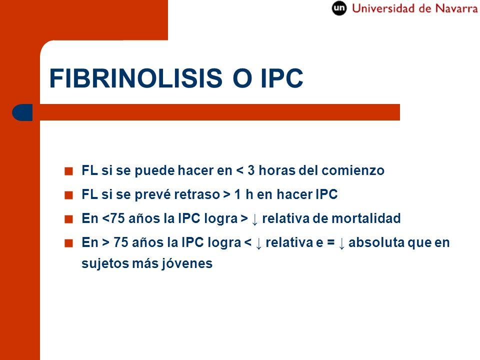 FIBRINOLISIS O IPC FL si se puede hacer en < 3 horas del comienzo FL si se prevé retraso > 1 h en hacer IPC En relativa de mortalidad En > 75 años la