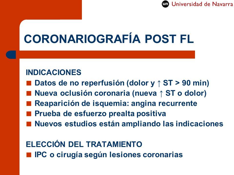 CORONARIOGRAFÍA POST FL INDICACIONES Datos de no reperfusión (dolor y ST > 90 min) Nueva oclusión coronaria (nueva ST o dolor) Reaparición de isquemia