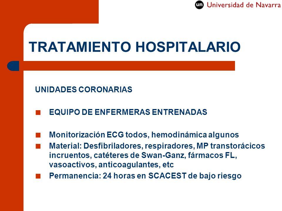 TRATAMIENTO HOSPITALARIO UNIDADES CORONARIAS EQUIPO DE ENFERMERAS ENTRENADAS Monitorización ECG todos, hemodinámica algunos Material: Desfibriladores,