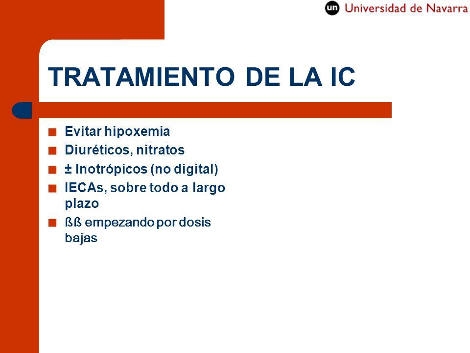 TRATAMIENTO DE LA IC Evitar hipoxemia Diuréticos, nitratos ± Inotrópicos (no digital) IECAs, sobre todo a largo plazo ßß empezando por dosis bajas