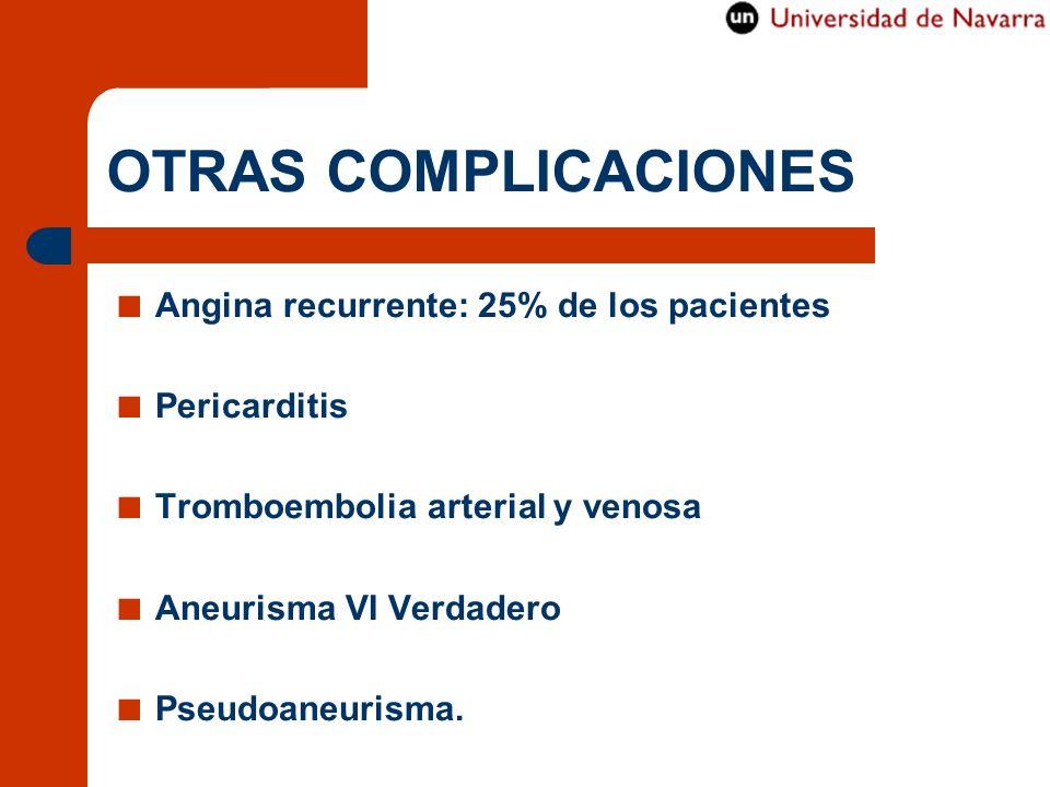 OTRAS COMPLICACIONES Angina recurrente: 25% de los pacientes Pericarditis Tromboembolia arterial y venosa Aneurisma VI Verdadero Pseudoaneurisma.